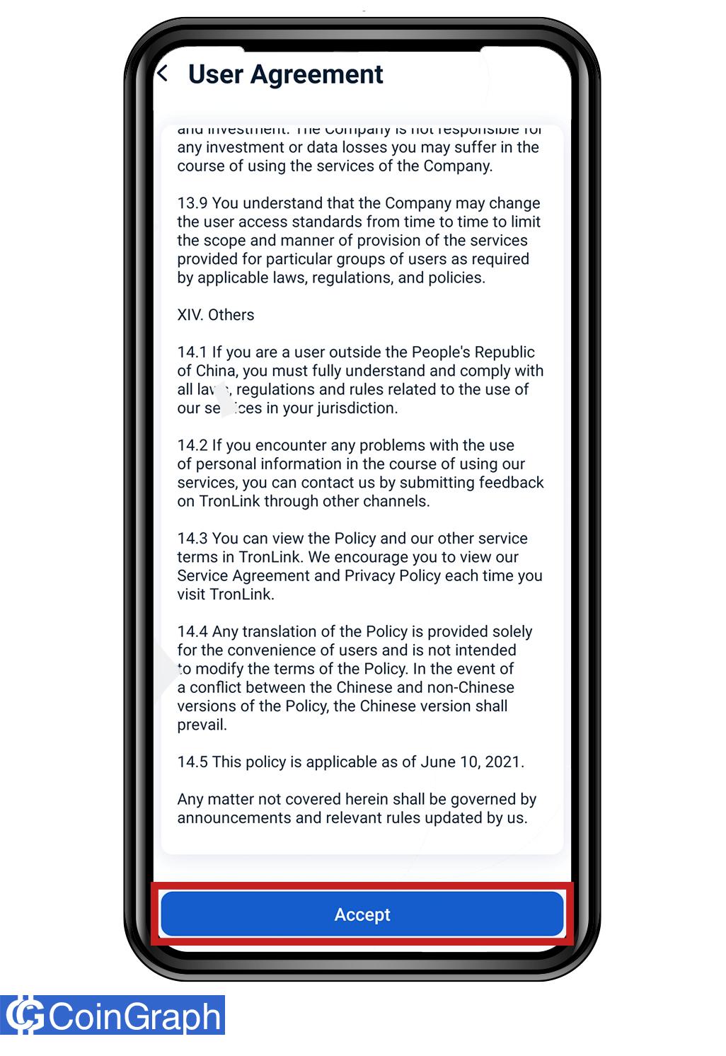 قوانین و مقررات استفاده از tron link pro